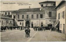 1914 Somma Lombardo Palazzo Comunale Nobili Visconti Viani FP B/N VG ANIM