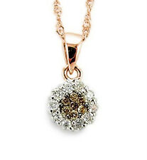 14K Rose Gold Chocolate Brown & White Diamond Pendant .25ct Cluster Pendant