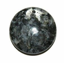 P1544 Norwegian Labradorite 30mm Top-Drill Round Coin Larvikite Gemstone Pendant