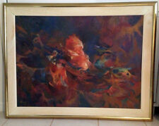 Rooster Fine Art Original Framed Oil Painting by M. Santiago T, 1994, Peru