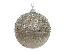 12 X Grande Oro Pálido con Cuentas Destellos Decorado Árbol de Navidad Bolas