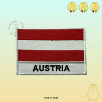 Austria National Flag With Name Embroidered Iron On Sew On Patch Badge