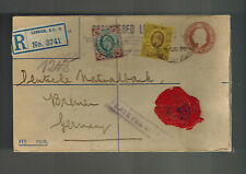 1908 London England Red Wax Seal Perfin Cover to Bremen Germany