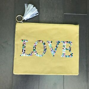 Violet & Brooks Yellow Love Sequin Zip Up Bag Clutch Canvas Pouch