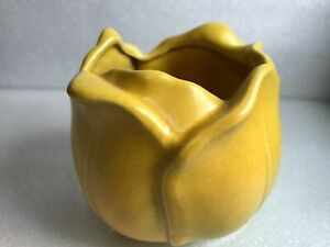 Vintage STANGL ART POTTERY OPEN TULIP VASE yellow flower pot Planter