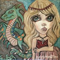 Princess and Amphitere Dragon Art Print 11 x 14 Artist Signed KSams Gothic Pink