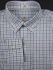 Peter Millar Nanoluxe Easycare Button Down Shirt Blue Check Sz Large Long Sleeve