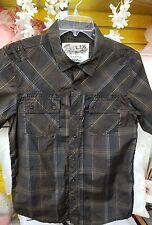 Nice boys Helix plaid short sleeve button front shirt, size XLarge (14-16)