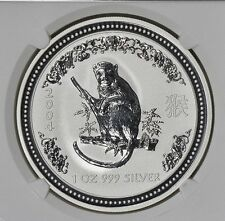 RARE ! ~ 2004 ~ 1~OZ PURE .999 SILVER ~ YEAR of the MONKEY ~ NGC ~MS~69 ~$138.88