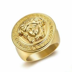 Medusa Ring Monogram Gold Color Titanium Ancient Greek Gorgon Men Women