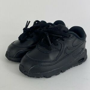 Nike Toddler's Air Max 90 LTR (TD) Black Leather Shoes 833416-001 Size 7C
