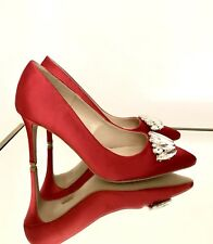 Kurt Geiger Red High Heels Size 4 EU 37 Women Party Court Shoes New Carvela