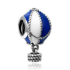 2pcs Blue Hot air balloon Paint Silver Charm Bead For Necklace Bracelet Chain