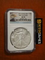 2013 $1 AMERICAN SILVER EAGLE NGC MS70 FIRST RELEASES BALD EAGLE LABEL