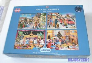 Gibsons 4 x 500 piece puzzles, Magic Of Christmas done once