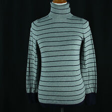 Gap Striped Turtleneck Sweater Women Size Medium Gray Navy Blue Ultrafine Cotton