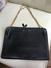 Celine Black Leather Chain Clutch Buckle Bag Pouch