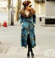 Womens fur Coat Shearling Jacket Long Winter V-neck Overcoat Occident BLUE