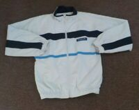 Cream white, navy and blue striped reebok embroidered coat - 32 inch chest