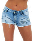 NEW Womens Size 6 8 10 12 14 DENIM SHORTS Ladies Lace Blue Jean HOTPANTS Short