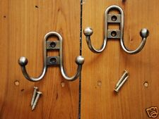 a Pair of Iron Double Hooks Coat Towel Hat Key Hangers Screws Included