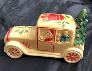 "Vintage Celluloid 4.5"" X 2.25 Santa Car w/ Christmas Tree Rattle RARE Condition"