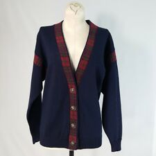 VTG Pendleton Womens Cardigan Sweater Wool Blue Plaid Crested Button Front Sz M