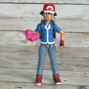 """Pokemon  Ash Ketchum   4.75"""" Action Figure with Backpack and Fruit"""