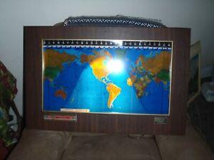 standard  Geochron World Timezone Light Up Map Wall Clock