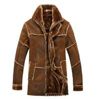 Men's Winter Sheepskin Bomber Jacket Warm Lined Leather pilot Coat Overcoat zz