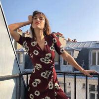 Vintage French Style Anemone Flower Wrap Dress V-neck Summer Women Dresses