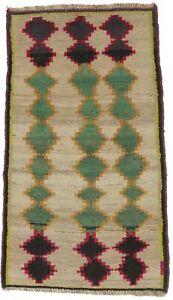 Semi Antique Tribal Design 4X7 Wool Gabbeh Oriental Rug Farmhouse Vintage Carpet