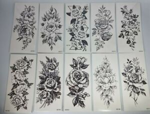 LAROI 10 Sheets Large Realistic Rose Peony Flower Temporary Tattoos Adults Women