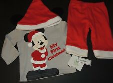 Mickey Mouse My First Christmas Disney 0-3 Months Gray Shirt Pants Hat Set NEW