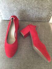 Hobbs Red Suede Block Heel Shoes Eu 40 Uk 7