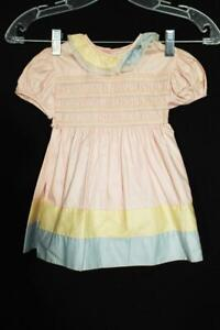 RARE 1930'S-1940'S GIRL'S DEADSTOCK COTTON PINK DRESS SIZE 12-18 M ORIGINAL TAG