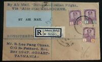 1931 Johor Bahru Malaya Airmail Cover To Hobart Tasmania Via Dutch Australia