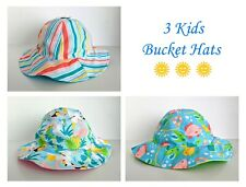 Kids' Bucket Hats - Set of 3 - Stripe, Bird & Fish - One Size - New With Tags