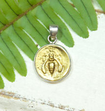 Gold Bee Pendant - 18K Gold Plated - Sterling Silver - coin pendant