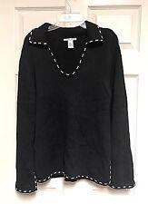 Jillian Jones Black Tunic Sweater Medium