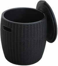 More details for rattan effect ice cooler drinks bucket outdoor side table capacity party fest uk