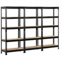 5-Tier Black Metal Storage Rack Heavy Duty Garage Adjustable Shelves Set Of 3