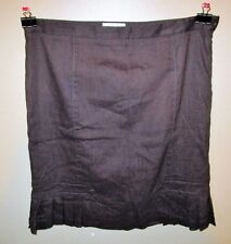 Womens Size 10 M.S.S.P Brown Flare Bottom Pleated Side Zip Career Skirt Church