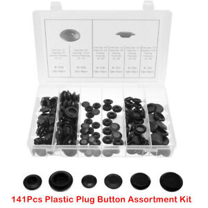 "Auto Body 141Pcs Plastic Plug Button Assortment Kit For 1/2"" 3/4"" 3/8"" 7/8"" Hole"