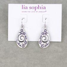 NWT vintage lia sophia signed jewelry silver tone hoop drop dangle earrings GIFT