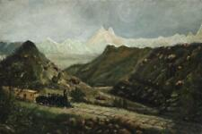 AMERICAN SCHOOL, Early 20th Century, A train in the mountains., Oil o... Lot 412