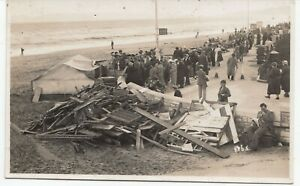Dorset; Wreckage On Bournemouth Beach RP PPC By Glen Fern, Unposted. c 1930's