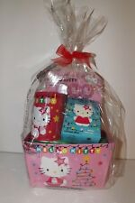 Pink Hello Kitty Easter Birthday Gift Basket Stickers Colored Pencils & Bank NIP