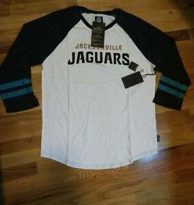 JACKSONVILLE JAGUARS Womens 3/4 Sleeve Tee (Size L) NFL Like Jersey White NEW