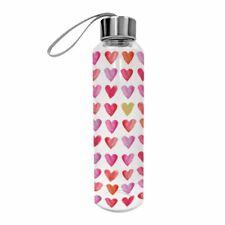 PPD Glas Bottle Aquarell Hearts Wasserflasche Trinkflasche